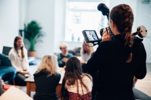Filming a group of people - Video marketing experts