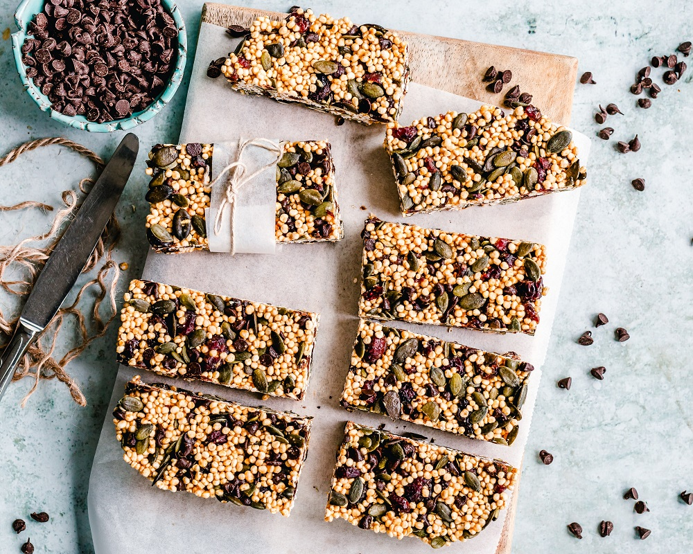 Granola bars pictured from above