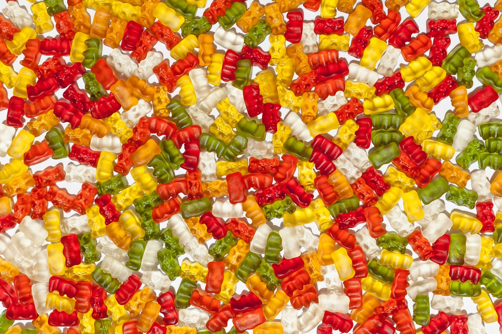 A display of gummy bears
