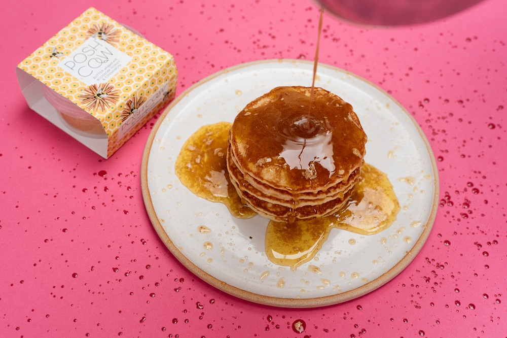 Pancakes being drizzled - Food product photography
