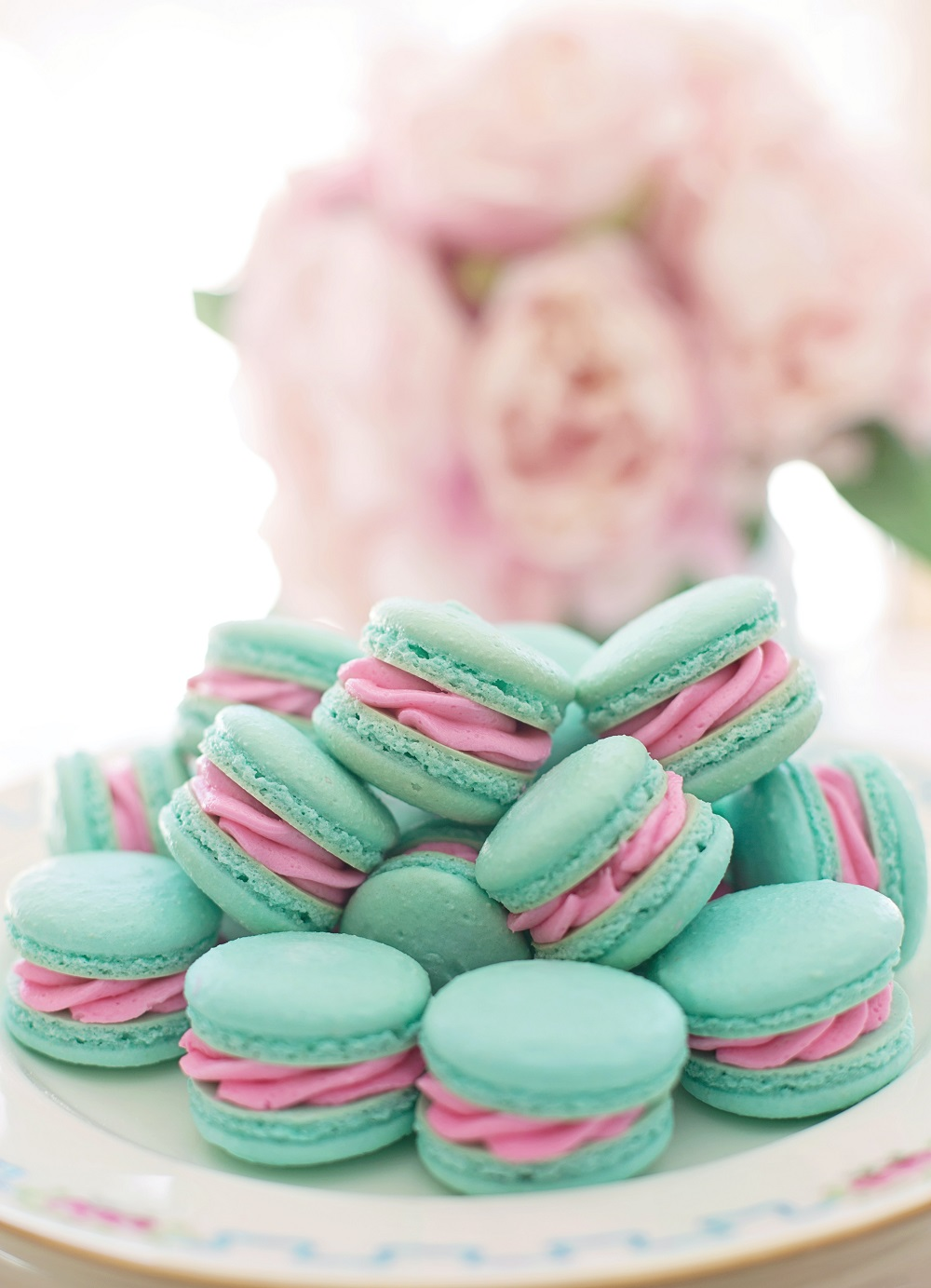 Pastel coloured macarons