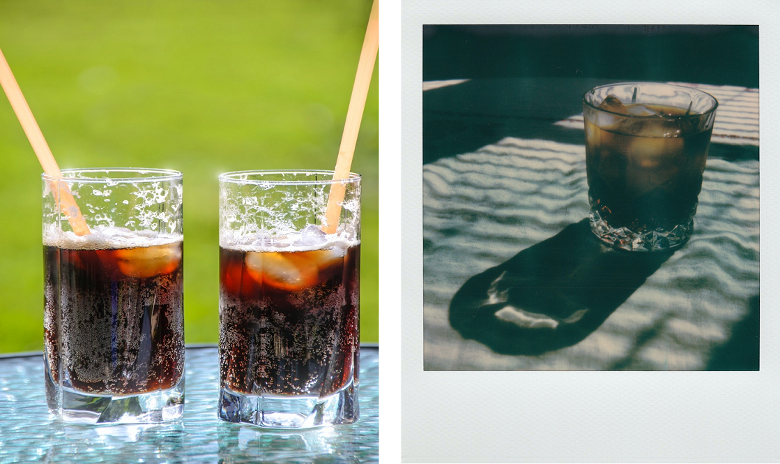 Quality product photograph of soda glasses