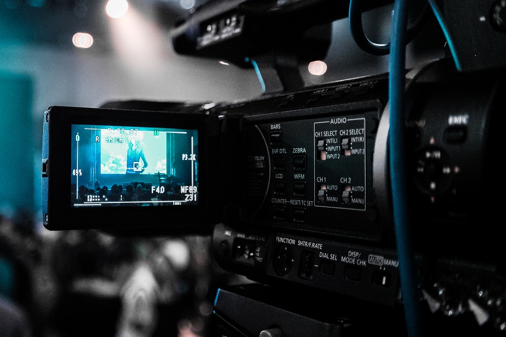 Image of a video camera filming - Marketing with video