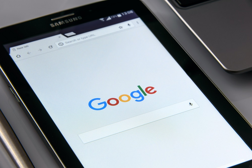 Google sign on a tablet - Product SEO 2021