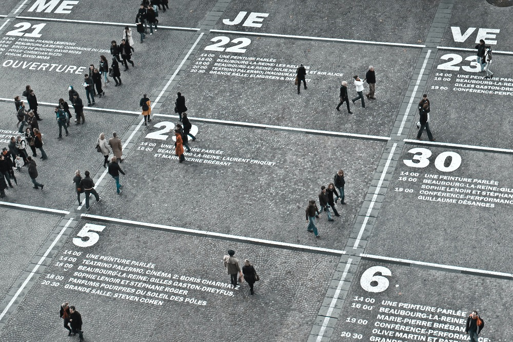 Large pedestrian area with calendar printed on it