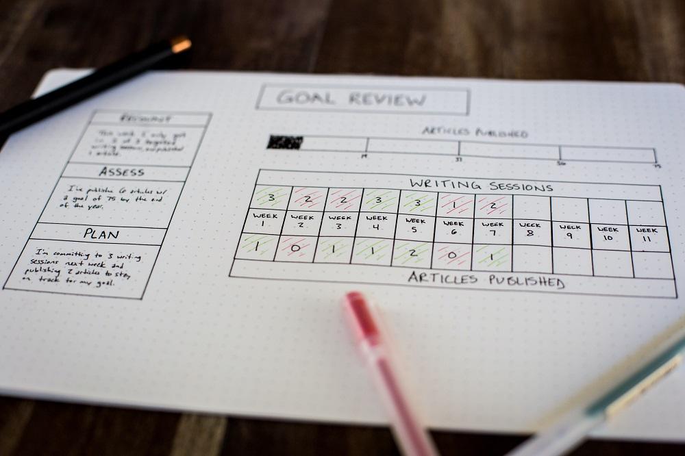 Hand written goal planner page