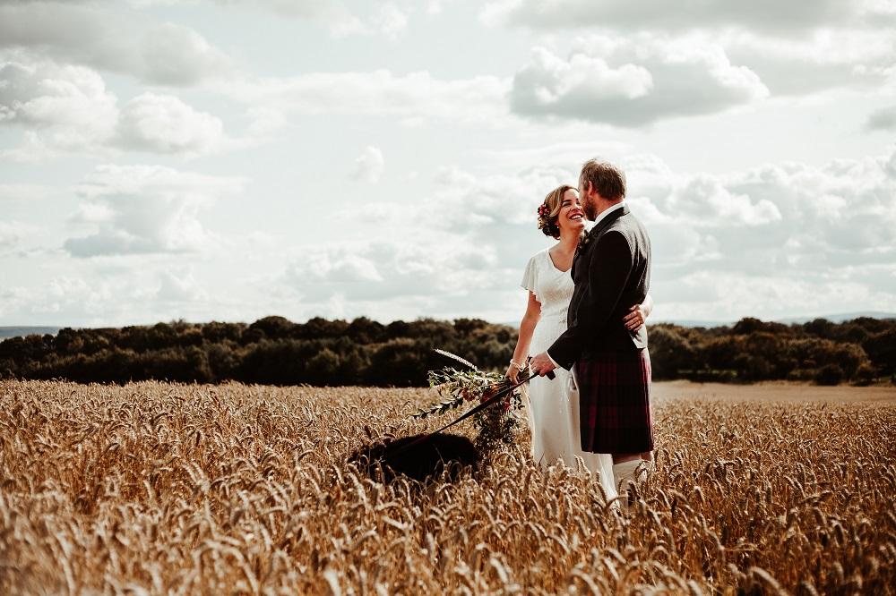 Wedding photo in a cornfield