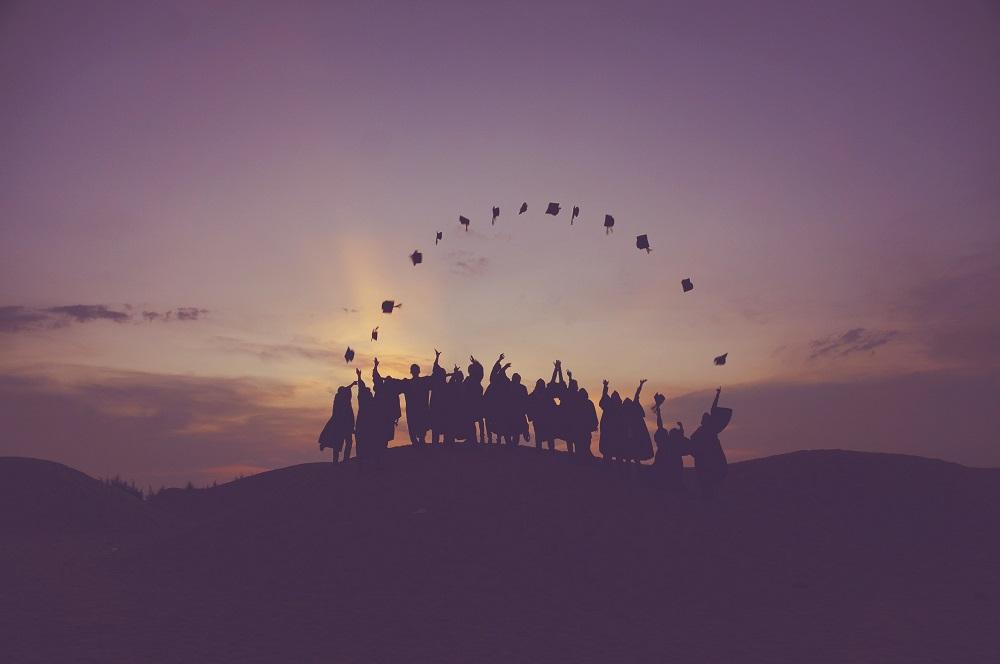Graduation photo outdoors
